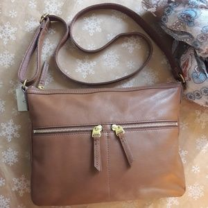 NWT  Fossil  Large Crossbody Brown Sholder Bag